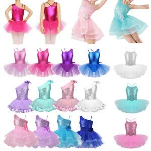 Girls-Kids-Sequins-Ballet-Tutu-Dance-Dress-Leotard-Skirt-Party-Ballerina-Costume