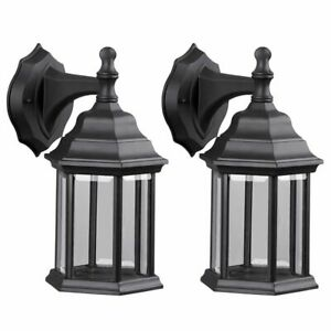 Twin-Pack-Outdoor-Exterior-Wall-Lantern-Light-Fixture-Sconce-Porch-Lamp-Lighting