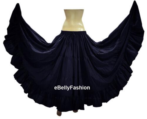 Women Gypsy Cotton 16 Yard 4 Tiered Skirt Belly Dance Flamenco Tribal Boho Jupe