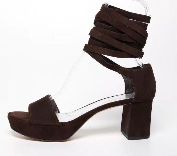 Prada Women's Brown Gladiator Block Heel Ankle Strap Sandals 6193 Size 41 EUR
