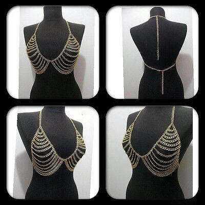 Women Sexy Tassel Layered Metal Harness Bra Bikini Necklace Belly Body Chain B