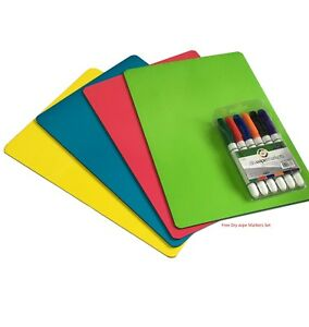 A4 Coloured Dry Wipe board Notice Memo Board with dry wipe markers