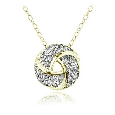 18K Gold over Sterling Silver 1/4ct Diamond Love Knot Necklace, (H-I, I2)