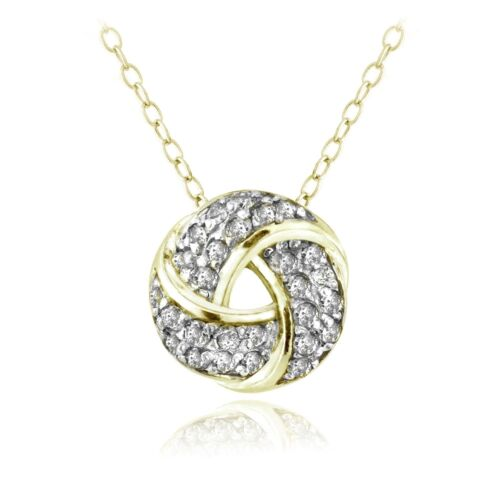 18K Gold over Sterling Silver 1//4ct Diamond Love Knot Necklace, H-I, I2