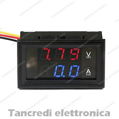 MINI AMPEROMETRO DC 0-5A LED ROSSO auto moto camper digitale solare eolico shunt