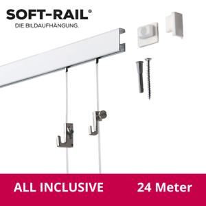 Bilderschienen Set Soft-Rail 24 Meter All Inclusive 12 x 2m Galerieschienen