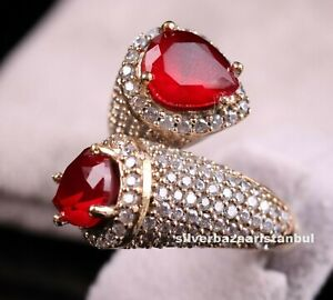 Turkish-Handmade-LUXURY-925-Silver-Red-Ruby-Stone-Ladies-Woman-Ring-Adjustable