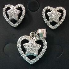 925 STERLING SILVER CZ DIAMOND EARINGS PENDANT SET,CZ DESIGNER WOMEN JEWELLERY