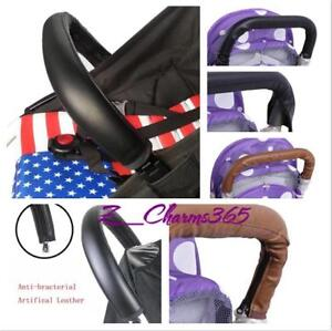 Chic Leather Handle Bumper Fastener Cover Sleeve for Baby Stroller Pushchair LIN