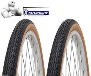 Jeu-lot-de-2-Pneu-Michelin-650-1-2-Ballon-42B-ZZ-Beige-noir-650B-44-584-velo