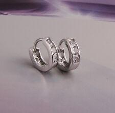 Placcato in platino gioielli piccole per neonate HOOPS con Orecchini zircons E447