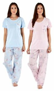 Ladies Eliza Pyjamas Floral Print Pant Cotton Jersey Top Woven Lounge Sleepwear