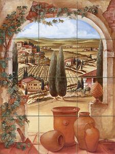 Art Toscana Arch Mural Tumbled Marble Backsplash Tile #146