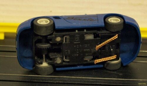Micro Scalextric Blue Porsche Boxster with Silver viper stripes Fully serviced