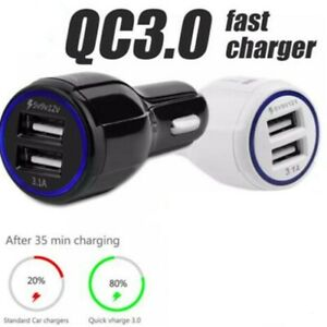Quick-Charge-3-0-Adaptive-Fast-Car-Charger-Dual-2-USB-Port-36W-Black-or-White