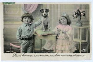 c-1908-Child-Children-Cute-Kids-w-NIPPER-DOG-French-photo-postcard