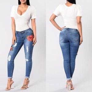 damen bestickt blumenmuster jeans zerrissen schmal denim hose damen stift hosen ebay. Black Bedroom Furniture Sets. Home Design Ideas