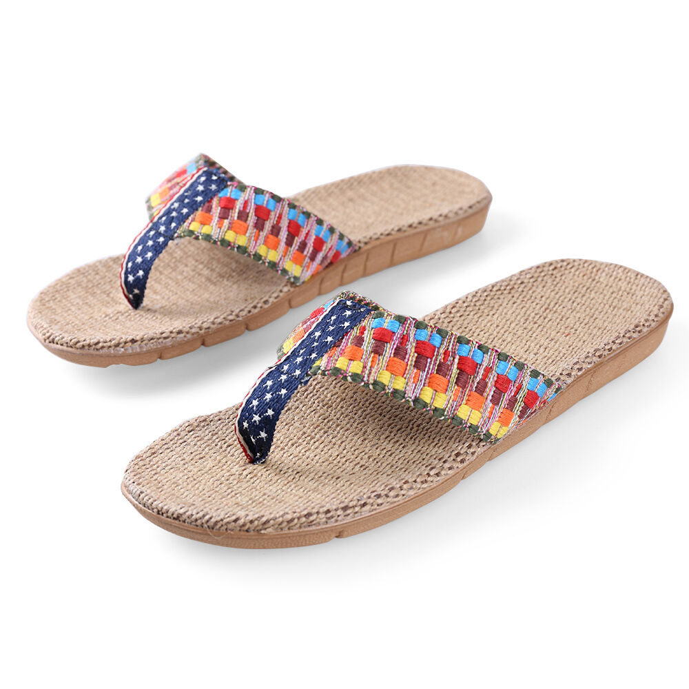 Women Summer Braided Straps Linen Flat  Top-sider Flip Flops Thong Sandals Top-sider  Shoes 6ce290