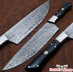 Details about DAMASCUS CUSTOM HANDMADE CHEF KNIFE KITCHEN KNIFE BULL  HORN,STEEL GUARDS HANDLE