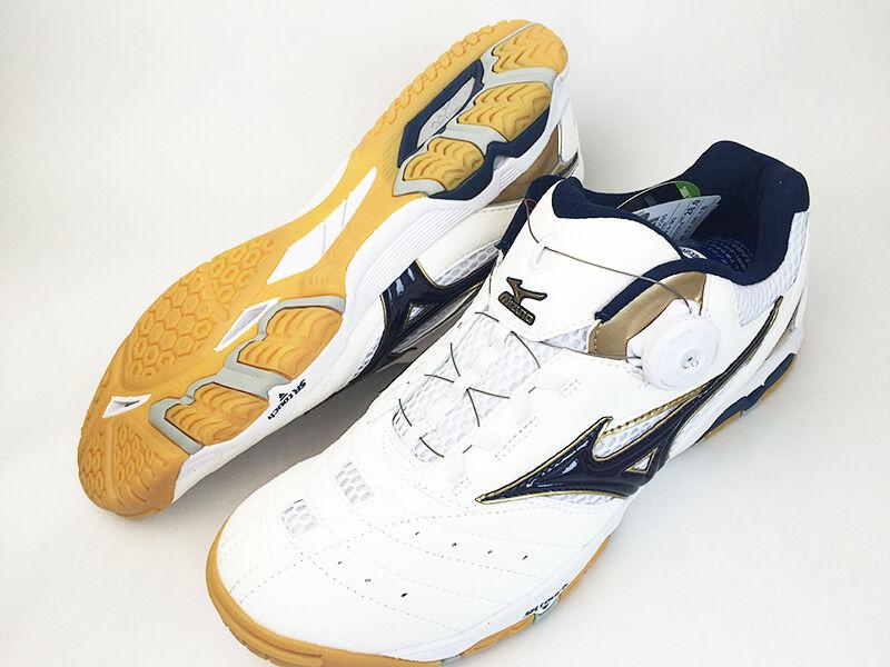 Mizuno medalla de onda Japón SP3 81GA1512 Zapatos Tenis De Mesa Ping Pong blancoo Azul Marino