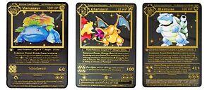 Pokemon Base Set Charizard Blastoise Venusaur 1st Ed Custom Black Metal Cards