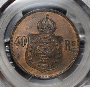 Brazil-1879-40-Reis-PCGS-MS62BN-PC0651-combine-shipping