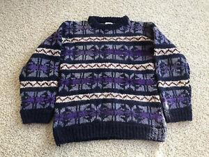 Details about Artesanias Lema Wool Sweater Womens LXL Mohair Style Striped Purple Ecuador
