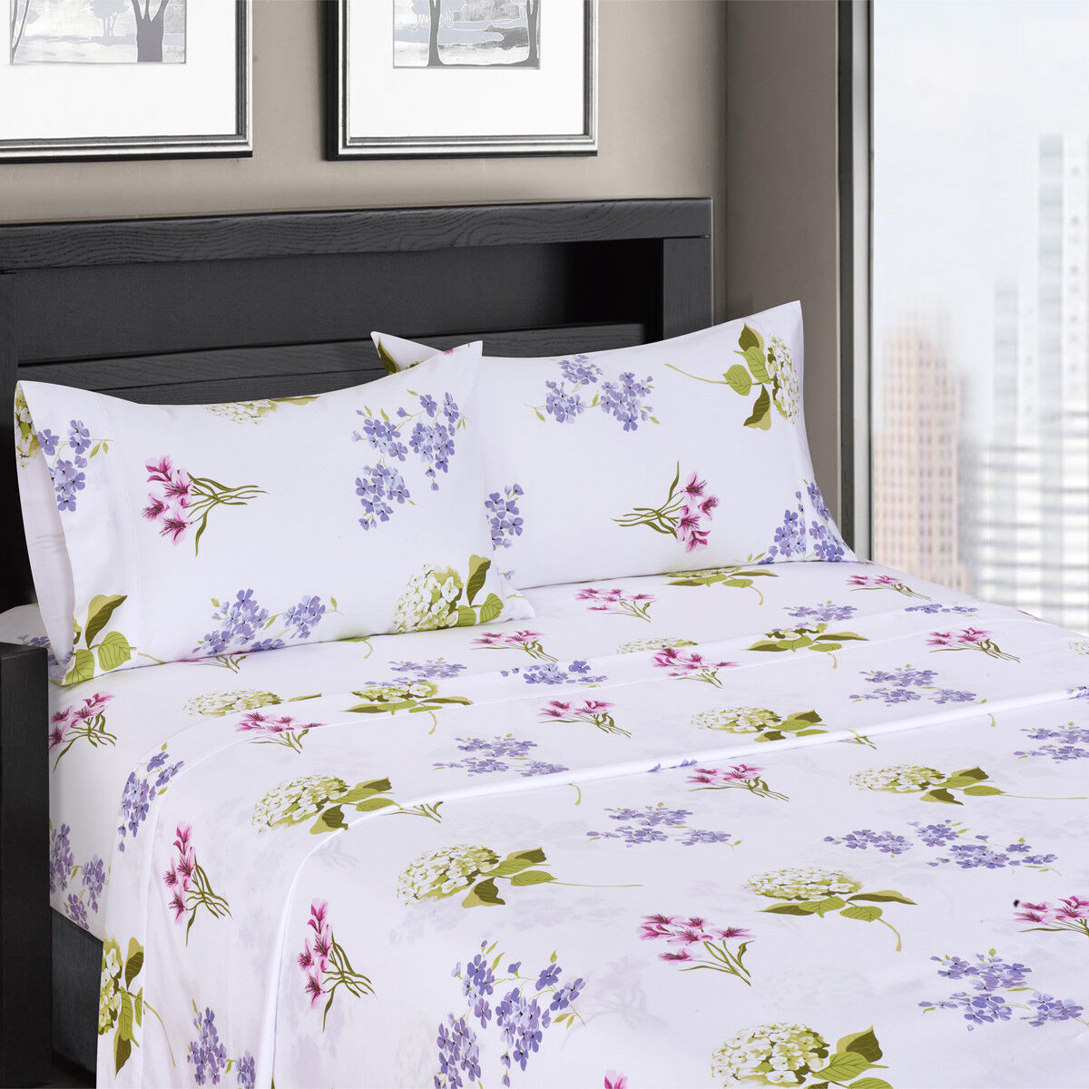 Luxury freshly floral Blossom 300 Thread count 100% Cotton Sheet Sets
