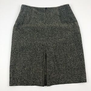 Uniform-John-Paul-Richard-Women-039-s-Pencil-Skirt-Size-14-Black-Beige-Tweed-Lined