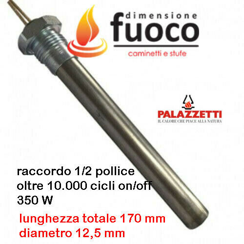 CANDELETTA RESISTENZA STUFA PELLET PALAZZETTI CON RACC 1//2/'/' D.12,5 L170 Cod1030