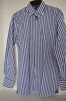 Visconti Black, Men's L/s Blue/white Dress Shirt Button Front Size Small $99