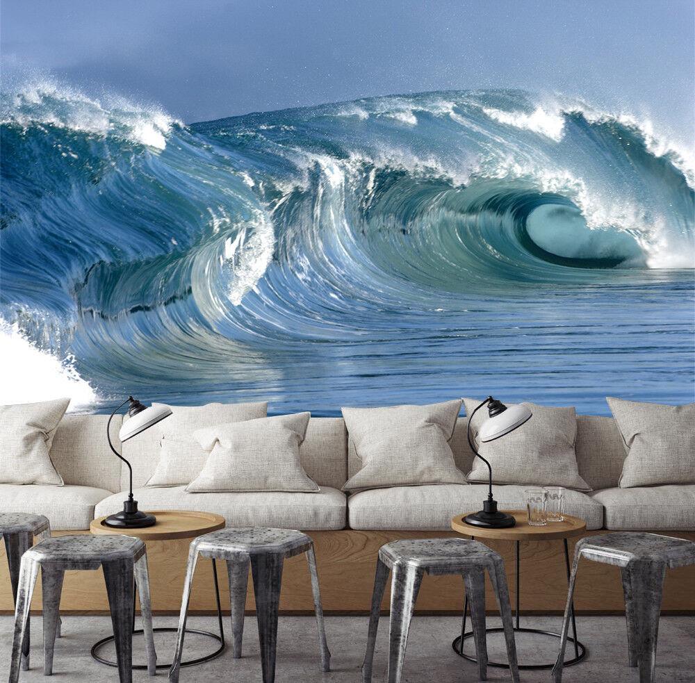 3D Sky Blau Waves 738 Wallpaper Mural Paper Wall Print Wallpaper Murals UK