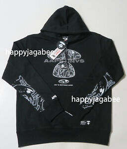 2019 A//W A BATHING APE Men/'s AAPE HOODIE Black Logo Pullover From Japan New