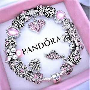 Authentic Pandora Bracelet Silver with LOVE ANGEL PINK HEART European Charms