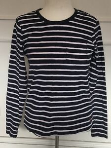 JACK-JONES-NAVY-BLUE-AND-WHITE-STRIPED-TOP-SIZE-S-APPROX-12