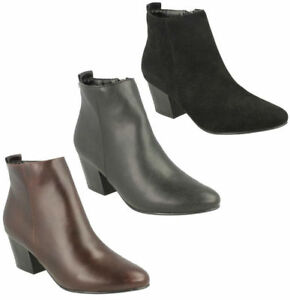 LADIES-SPOT-ON-ZIP-UP-HIGH-CHUNKY-HEEL-CASUAL-WINTER-ANKLE-BOOTS-SHOES-F50360