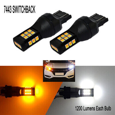 AUXITO 2x 7443 7444NA Dual Color White Amber LED Switchback Turn Signal Lights A
