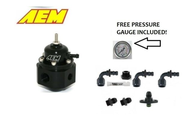 AEM Universal Adjustable Fuel Pressure Regulator & ANNO Fittings Kit for Nissan