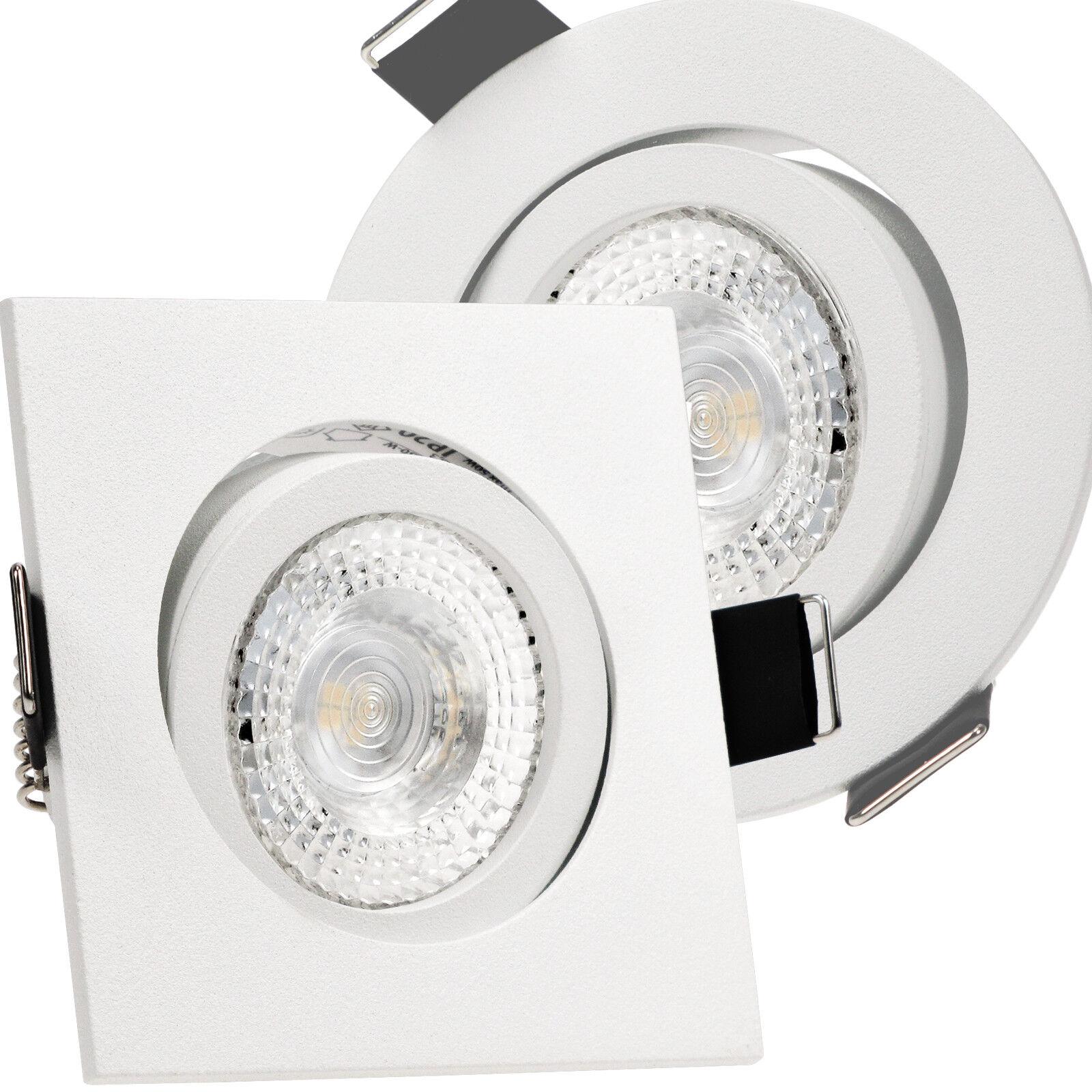 LED Einbauspots 230V SMD 3,3W=40W Hochvolt schwenkbar 1-50x AKTION Set BIANCO