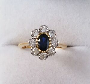 Vintage-Jewellery-Gold-Ring-Blue-and-White-Sapphires-Antique-Deco-Jewelry-sz-P