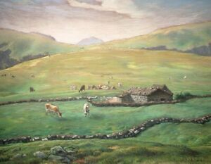 Jean-Francois-Millet-Grazing-In-The-Vosges-Fine-Art-Painting-Print-on-Canvas-SM