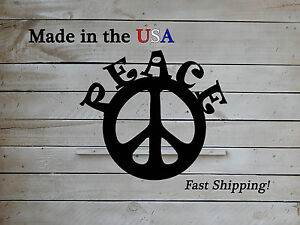 Image Is Loading Peace Sign Hippie Decor Metal Wall