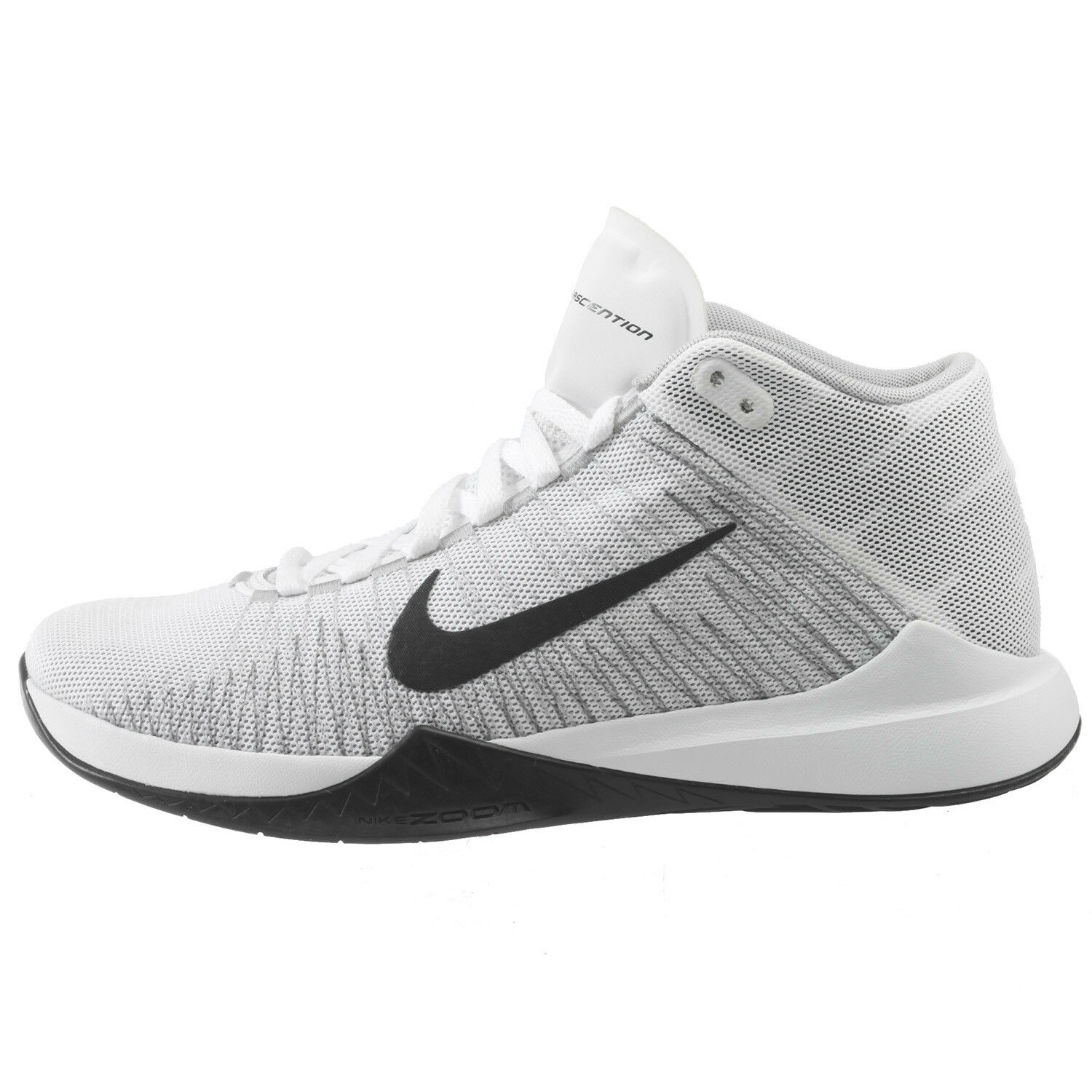 Nike Basketball Zoom Ascention Mens 832234-100 White Black Grey Basketball Nike Shoes Size 9 699a61