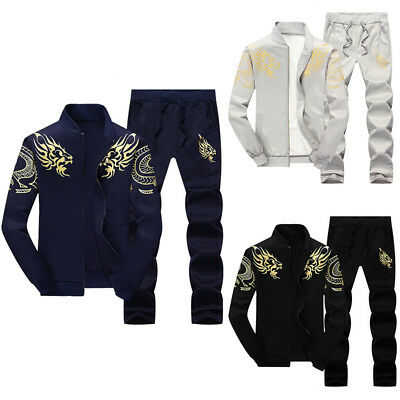 New Mens Fleece Full Tracksuit Top and Bottom Zip Hoodie Sports Suit