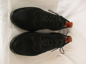 Armani-Mens-Black-Suede-Wingtip-Dress-Shoes-Size-42-Euro-8-5D-US-Italy-Made