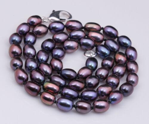 + 8-9 mm Naturel de Culture Noir riz collier de perles AAA Long 36 in environ 91.44 cm