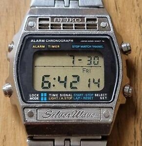 Seiko Silver Wave A259-5090 vintage digital watch Japan 1979 steel alarm chrono