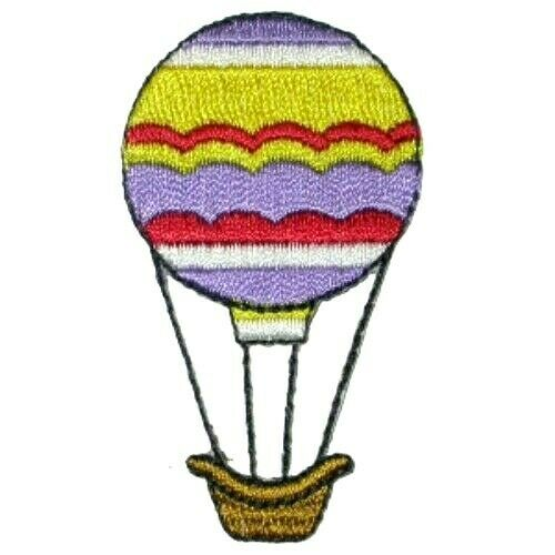 HOT AIR BALLOON PURPLE//YELLOW IRON ON PATCH APPLIQUE