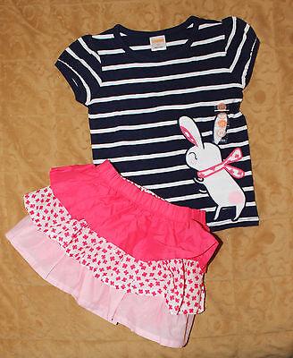 NWT Gymboree Pretty Poppy 2pc Set Outfit: Striped Top & Ruffle Skirt Sz: 2T