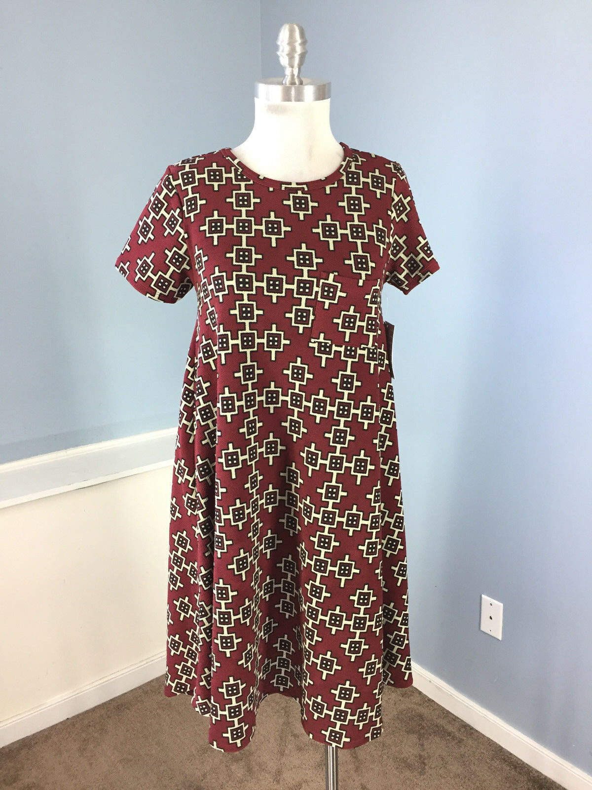 New LULAROE XS Burgundy Beige Geo Print Carly Swing dress Career Casual Aztec
